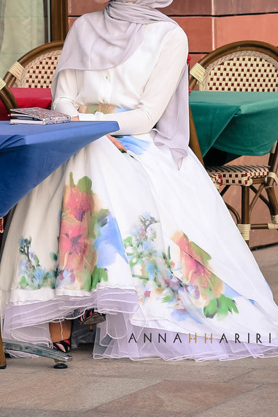 Silk flower skirt by annah hariri ramadan dresses online for Annah hariri wedding dress