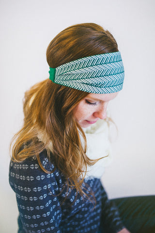 Green Herringbone Headwrap