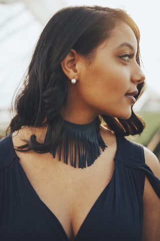 Navy Leather Fringe Choker