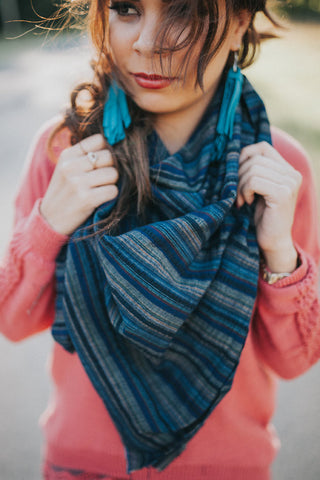 Sea Blue Blanket Scarf