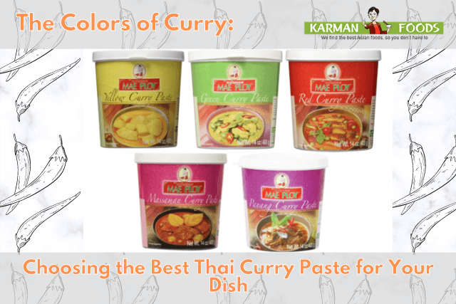 5 different tubs of Mae Ploy Curry.