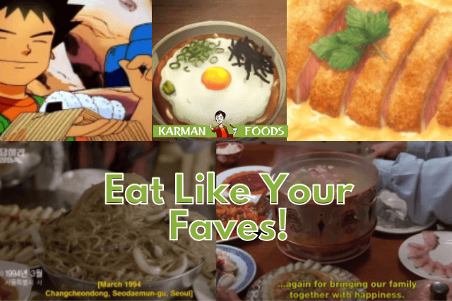 A collage of different anime food and the real food counterpart.