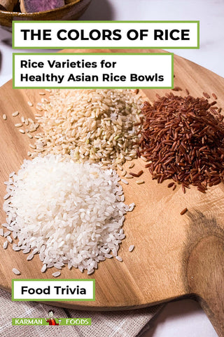3 different kinds of rice on a chopping board