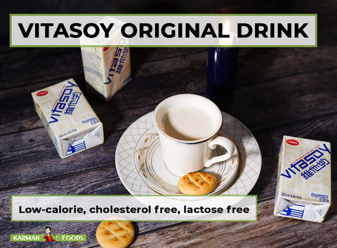 vitasoy original drink boxes and in a porcelain cup with cookies on the side