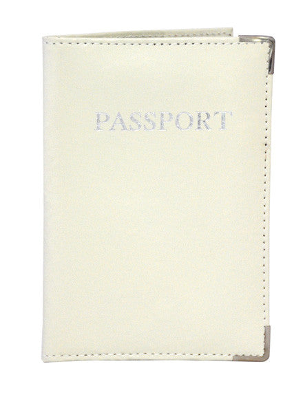MC Travel LEATHER Passport Cover: Cream - Jetsettr.com.au