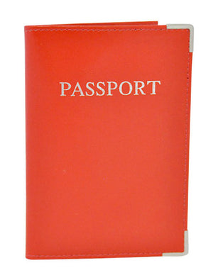 MC Travel LEATHER Passport Cover: Fire Engine Red - Jetsettr.com.au