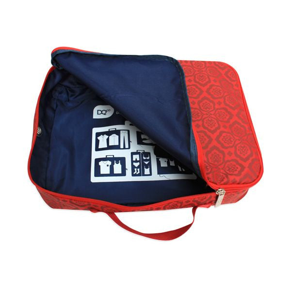 DQ & Co. Packing Cube: Red Floret (33x24x7.5cm) - Jetsettr.com.au - 1