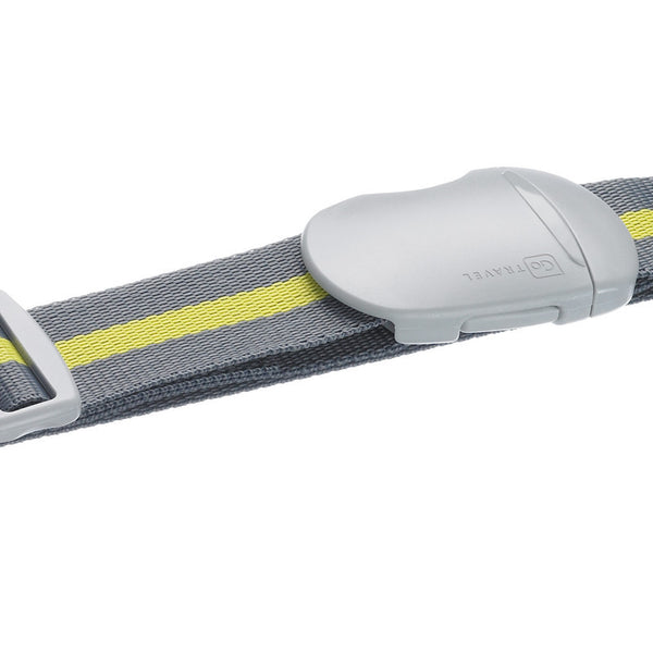 Go Travel Striped Luggage Strap: Lime & Grey - Jetsettr.com.au - 1
