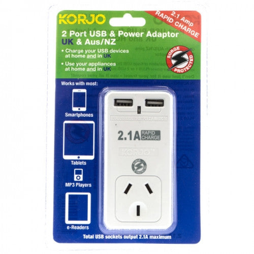 Korjo 2-Port USB & Power Adaptor: AUS/NZ + UK - Jetsettr.com.au