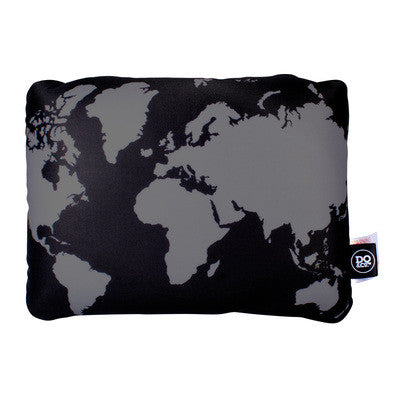 DQ Co. Cool Black 2 In 1 Travel Pillow: World Map - Jetsettr.com.au - 1