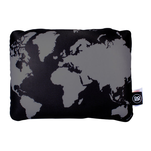 DQ Co. Cool Black 2 In 1 Travel Pillow: World Map - Jetsettr.com.au - 2