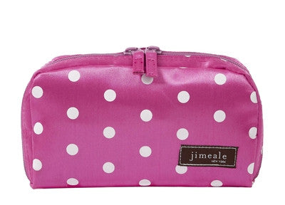 Jimeale New York 701 Cosmetic Bag: Pink & White Polka Dots - Jetsettr.com.au