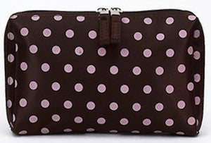 Jimeale New York 701 Cosmetic Bag: Chocolate & Pink Polka Dots - Jetsettr.com.au - 1