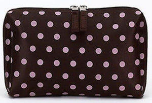 Jimeale New York 701 Cosmetic Bag: Chocolate & Pink Polka Dots - Jetsettr.com.au - 2