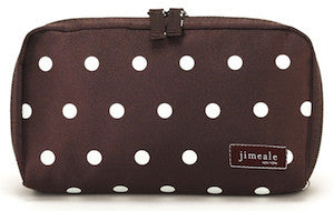 Jimeale New York 701 Cosmetic Bag: Chocolate & White Polka Dots - Jetsettr.com.au - 1