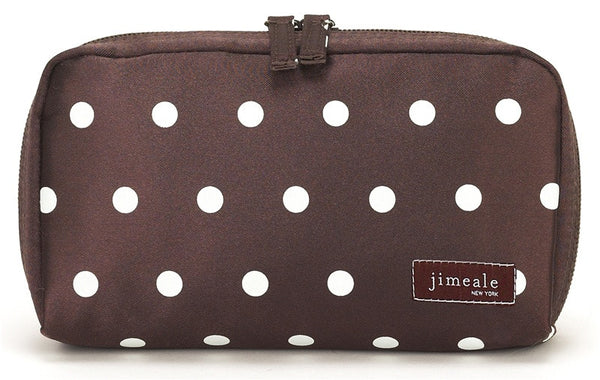 Jimeale New York 701 Cosmetic Bag: Chocolate & White Polka Dots - Jetsettr.com.au - 2