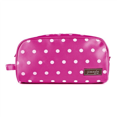 Jimeale New York 702 Toiletry Bag: Pink & White Polka Dots - Jetsettr.com.au