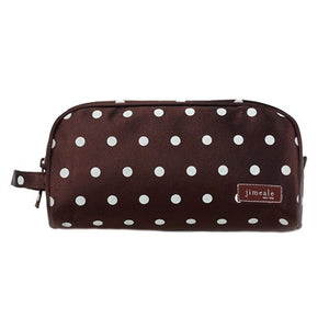 Jimeale New York 702 Toiletry Bag: Chocolate & White Polka Dots - Jetsettr.com.au