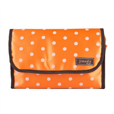 Jimeale New York 703 Toiletry Bag: Orange & White Polka Dots - Jetsettr.com.au - 1