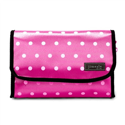 Jimeale New York 703 Toiletry Bag: Pink & White Polka Dots - Jetsettr.com.au - 1