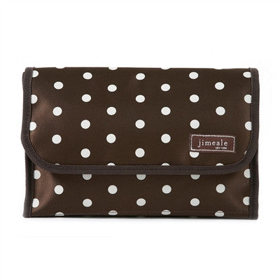 Jimeale New York 703 Toiletry Bag: Chocolate & White Polka Dots - Jetsettr.com.au - 1