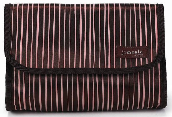 Jimeale New York 703 Toiletry Bag: Chocolate & White Stripe - Jetsettr.com.au - 1