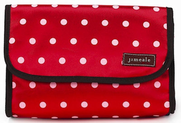 Jimeale New York 703 Toiletry Bag: Red & Pink Polka Dots - Jetsettr.com.au - 2