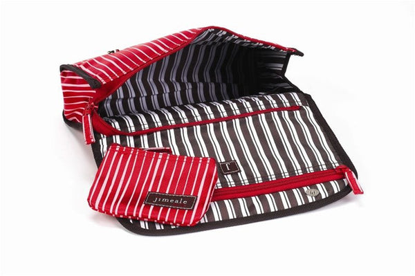 Jimeale New York 703 Toiletry Bag: Red & White Stripe - Jetsettr.com.au - 2