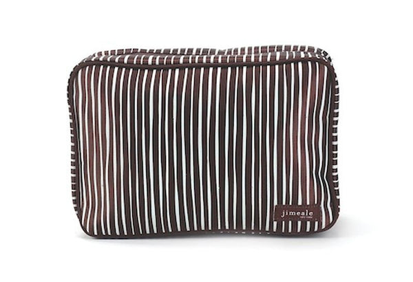 Jimeale New York 705 Toiletry Bag: Chocolate & White Stripe - Jetsettr.com.au - 1