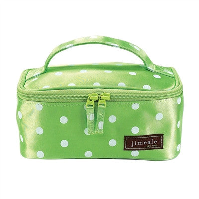 Jimeale New York 706 Cosmetic Bag: Lime & White Polka Dots - Jetsettr.com.au