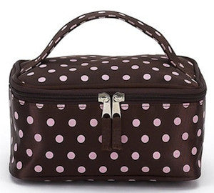 Jimeale New York 706 Cosmetic Bag: Chocolate & Pink Dots - Jetsettr.com.au - 1