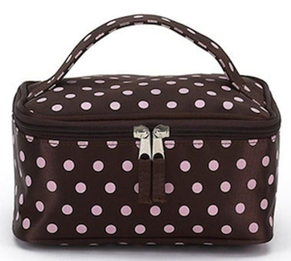 Jimeale New York 706 Cosmetic Bag: Chocolate & Pink Dots - Jetsettr.com.au - 2