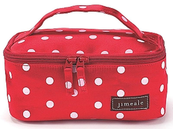 Jimeale New York 706 Cosmetic Bag: Red & Pink Polka Dots - Jetsettr.com.au - 2