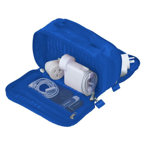 La Poche 'Charge Me Up' Charger & Adaptor Bag: Blue - Jetsettr.com.au