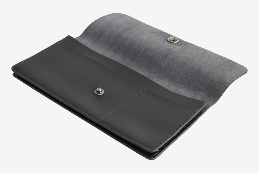 Corban & Blair Basics Leather Travel Wallet: Black - Jetsettr.com.au - 1
