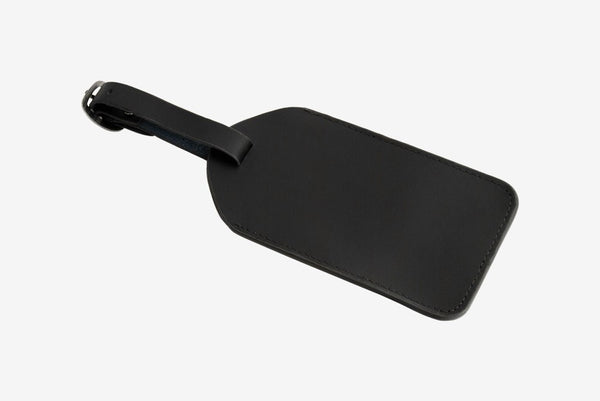 Corban & Blair Basics Leather Luggage Tag: Black - Jetsettr.com.au - 1
