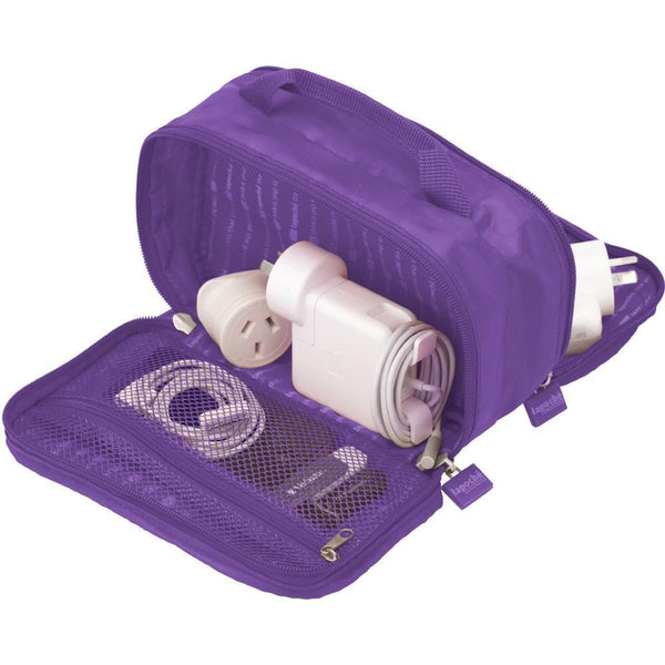 La Poche 'Charge Me Up' Charger & Adaptor Bag: Purple - Jetsettr.com.au