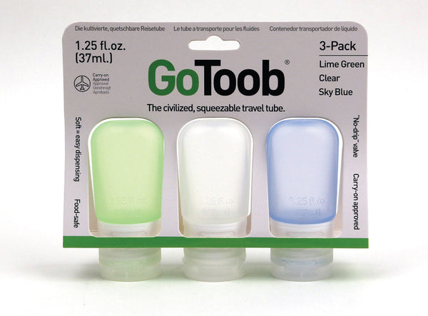 Humangear GoToob 3-Pack | Squeezable Travel Tubes | Clear/Green/Blue [3pk] - Jetsettr.com.au - 3