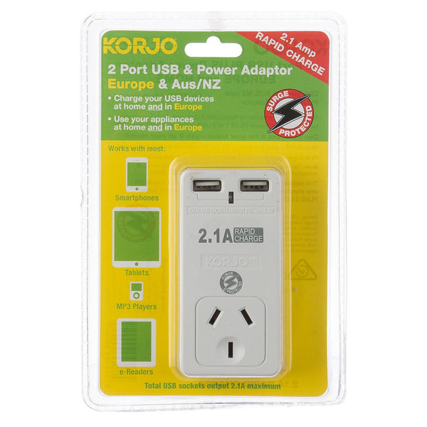 Korjo 2-Port USB & Power Adaptor: AUS/NZ + EU - Jetsettr.com.au