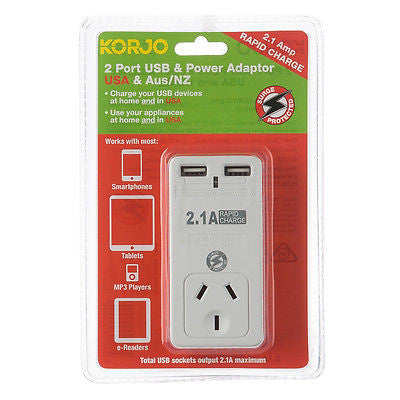 Korjo 2-Port USB & Power Adaptor: AUS/NZ + USA - Jetsettr.com.au