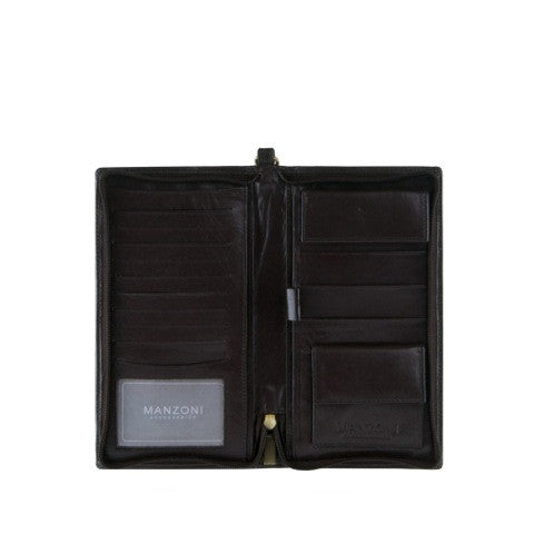 Manzoni Zippered Leather Travel Wallet: Dark Brown - Jetsettr.com.au - 1