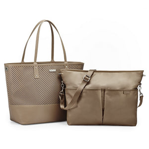 Skip Hop Duet 2-in-1 Tote Nappy Bag: Taupe - Jetsettr.com.au - 1