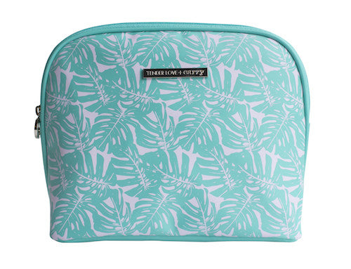 Tender Love + Carry Cosmetic Clutch: Turquoise Monsteria - Jetsettr.com.au - 1
