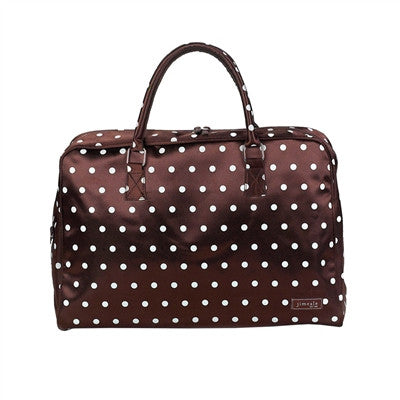 Jimeale New York Weekender Bag: Chocolate & Pink Polka Dots - Jetsettr.com.au