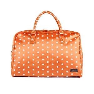 Jimeale New York Weekender Bag: Orange & White Polka Dots - Jetsettr.com.au - 1