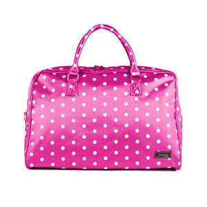 Jimeale New York Weekender Bag: Pink & White Polka Dots - Jetsettr.com.au - 1