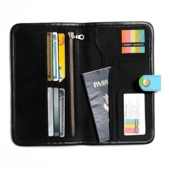 Tepper Jackson Bloom Travel Passport Wallet: Retro Blue - Jetsettr.com.au - 2