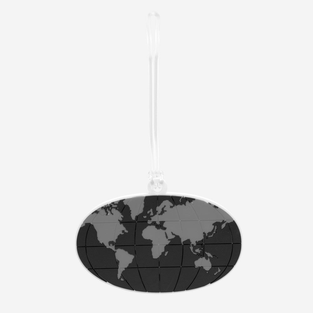 DQ Co. Cool Black Luggage Tag: World Map - Jetsettr.com.au