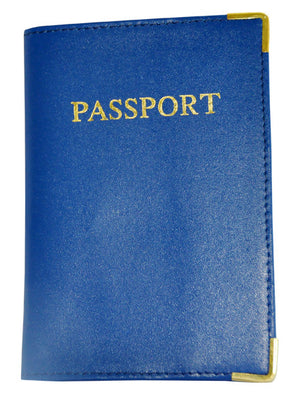 MC Travel LEATHER Passport Cover: Dark Blue - Jetsettr.com.au