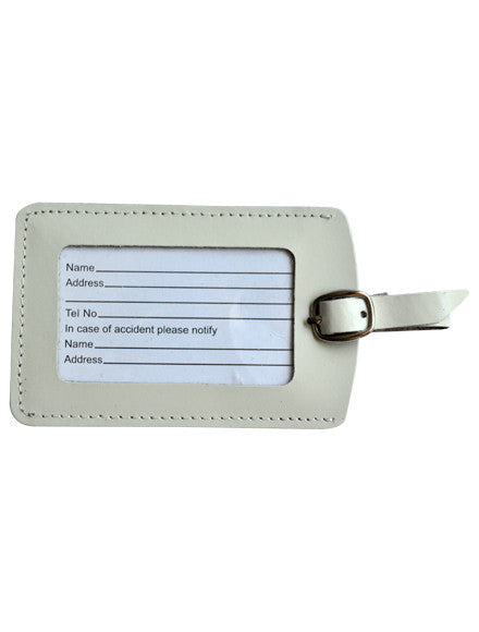 MC Travel Leather Luggage Tag: CREAM - Jetsettr.com.au - 1